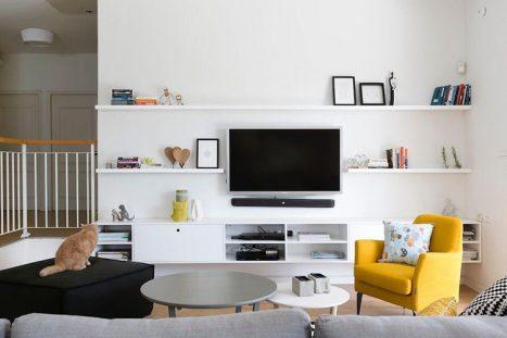 כוננית ומדפים בהתאמה אישית לסלון מעוצב