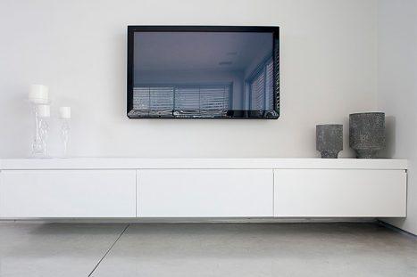 כוננית סלון בהתאמה אישית בסגנון מודרני בצבע לבן